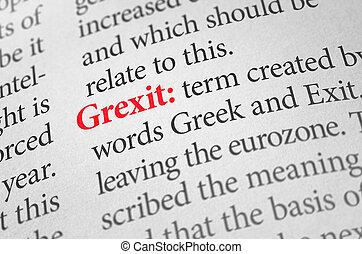 définition, mot, dictionnaire, grexit