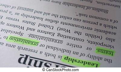 définition, mot, essentiels, text., direction, marqueur, homme affaires
