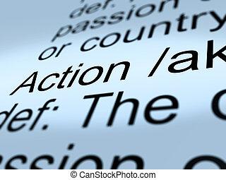 définition, projection, agir, closeup, action, ou, proactive