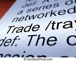 définition, projection, commercer, closeup, importation, exportation