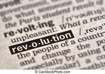 définition, révolution, mot, texte