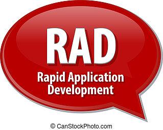 définition, rad, acronyme, illustration, bulle discours