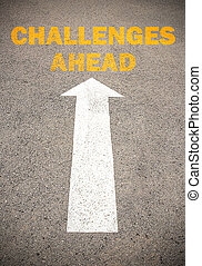 défis, ahead., concept, route, texte