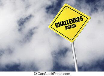 défis, devant, signe