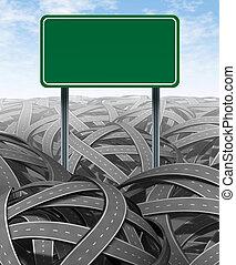 défis, obstacles, vide, signe route