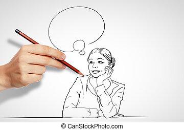 défis, questions, business, dessin