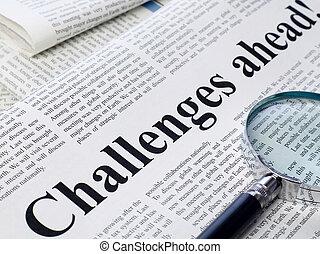 défis, titre, journal, devant