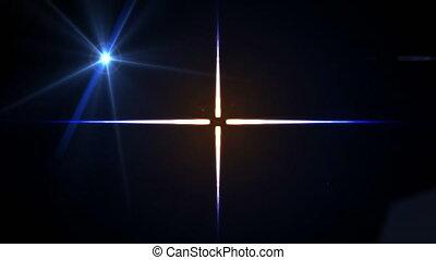 déformé, étoile, en mouvement, animation, fond foncé, croix,...