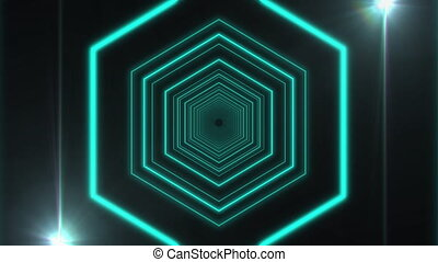 déformé, en mouvement, projecteurs, grands traits, hexagone,...