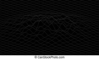 déformé, rendering., blanc, former, résumé, animation., surface, lignes, cg, arrière-plan., 3d, noir