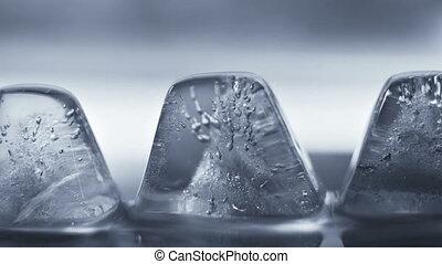 dégeler, gros plan, cube, glace, timelapse