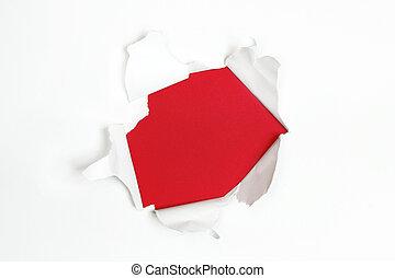 déguenillé, bords, papier, trou, blanc rouge