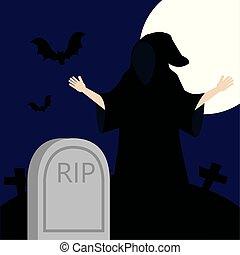 déguisé, jeune, cimetière, mort, homme