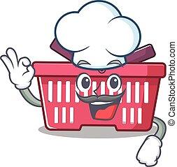 déguisement, panier, blanc, caractère, achats, porter, chapeau, chef cuistot, dessin animé