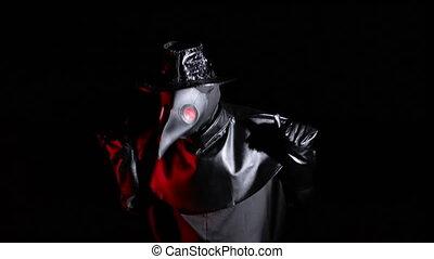 déguisement, s'agiter, concept., docteur, terrifiant, marques, arrière-plan., rigolote, noir, historique, épidémie, peste, masque, picoter, ailes, bec, isolé, masque, crow-like, gestes, si