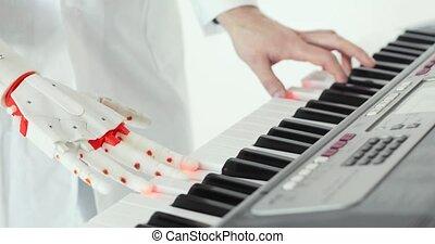 dégustation, main., prothétique, main, prothèse, scientifique, deux, humain, robotique, ingénieur, mains, jouer, piano.