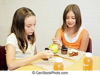 déjeuner, école, -, filles, table