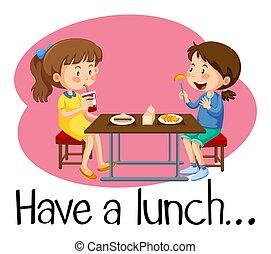 déjeuner, cafétéria, filles, avoir