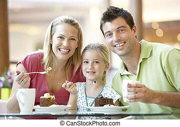 déjeuner, centre commercial, ensemble, famille, avoir