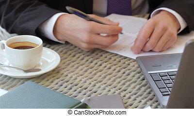 déjeuner, contrat signant, business, pendant