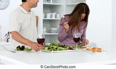 déjeuner, couple, agréable, avoir, heureux