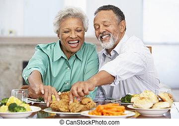 déjeuner, couple, avoir, ensemble, maison