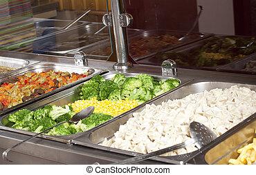 déjeuner, entiers, station, service
