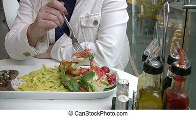 déjeuner, femmes, avoir, restaurant