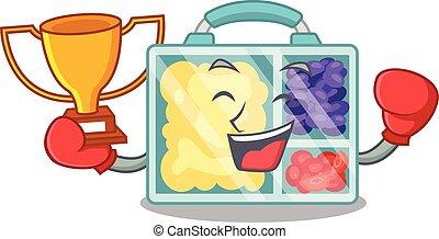 déjeuner, gagnant, boxe, caractère, heureux, au-dessus, table, boîte