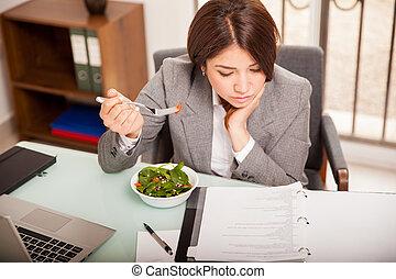 déjeuner, manger, bureau