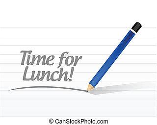 déjeuner, message, conception, illustration, temps