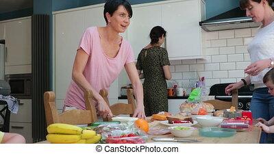déjeuner, parents, préparer, cuisine