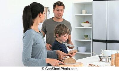 déjeuner, préparer, famille