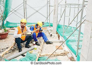 déjeuner, site, coupure, construction