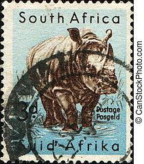dél-afrika, -, cirka, 1954:, egy, bélyeg, nyomtatott, alatt,...