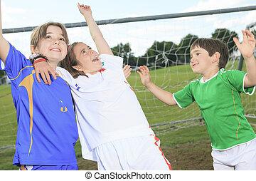 dél, gyermek, játék, futball, képben látható, nyár, évad