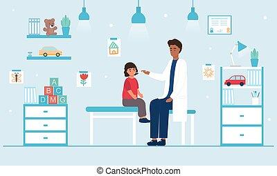 dél, találkozó, gyermekorvos, orvos, gyermek, fogalom