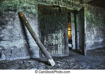 délabré, vieux, bâtiment agricole
