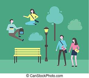 délassant, étudiants, université, parc, jeunesse, campus