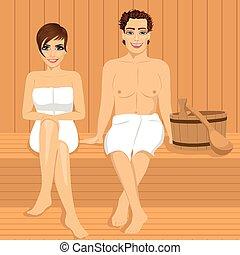 délassant, bois, couple, ensemble, sauna, heureux