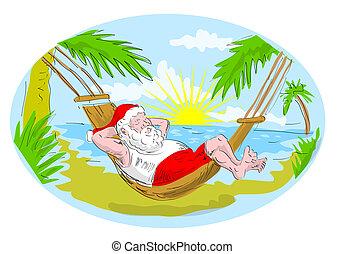 délassant, claus, exotique, hamac, santa, plage