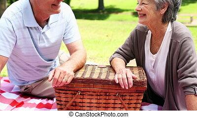 délassant, couple, heureux, parc, personne agee