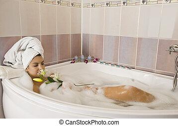 délassant, dans, bathtube