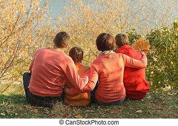 délassant, famille, automne, parc, quatre
