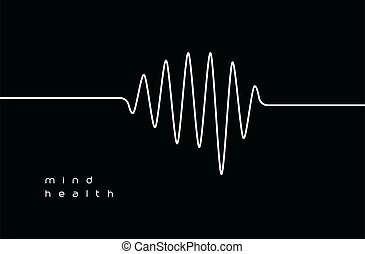 délassant, icon., coeur, illustration, isolé, santé, emblem., signe., logo., mental, esprit, monitor., forme onde, vecteur, healthcare, inquiétude, monde médical, cardiogramme, pouls, méditation, bande sonore, musique, tracking., taux