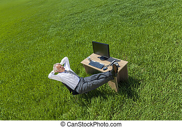délassant, pensée, homme affaires, bureau, champ vert