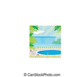 délassant, pool., natation, exotique