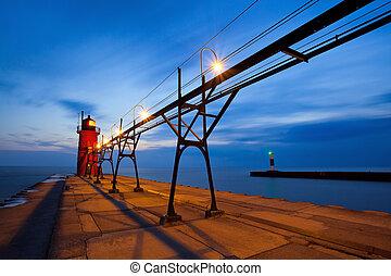 déli, kikötő, lighthouse.