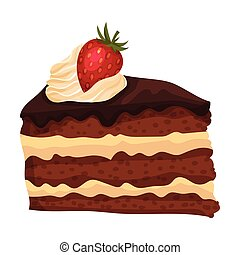 délicieux, crème, dessert, couper, illustration, doux, frais, gâteau chocolat, vecteur, fraise