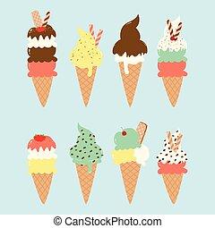 délicieux, crème, ensemble, vecteur, glace